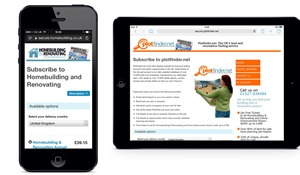 Subscription pages for Homebuilding & Renovating on the iPhone and Plotfinder.net on the iPad.