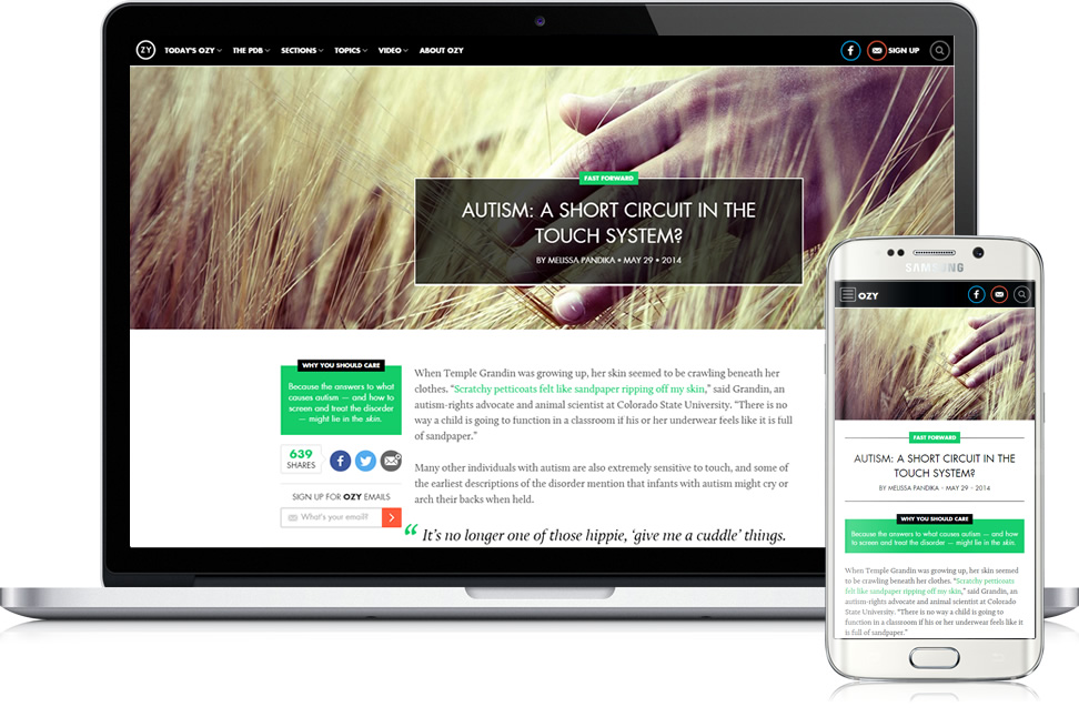 ozy responsive layout desktop and mobile