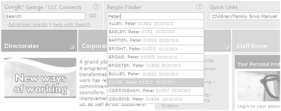 Lincolnshire County Council intranet - 'People Finder'