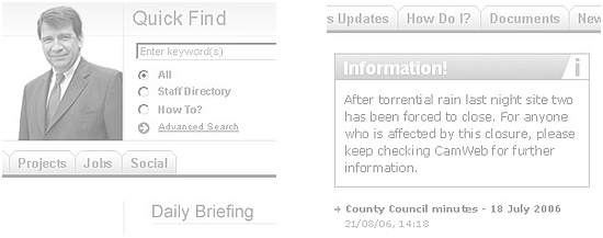 Cambridge County Council Intranet - 'Quick find' page